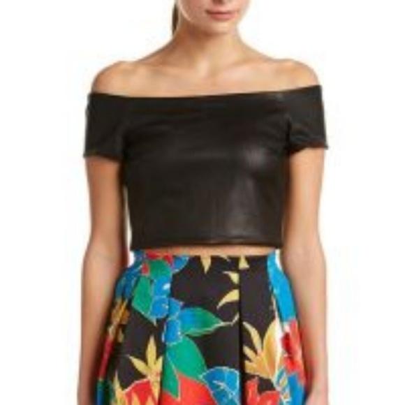 a0d53d008c5 Alice + Olivia Tops | Alice Olivia Off Shoulder Black Leather Crop ...